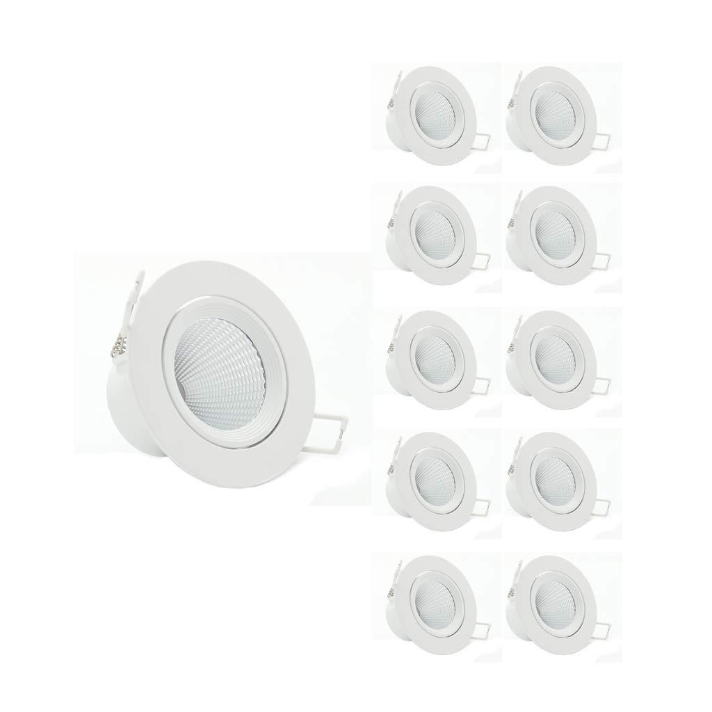 (10 pack) Downlight Dimmbare LED Embedded Deckenstrahler Wohnzimmer Loch Licht 3 Watt Offenes Loch 3  (Farbe   Warmes Licht, Farbe   7w)