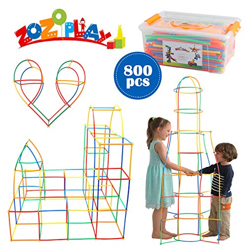 ZoZoplay Straw Constructor STEM Building Toys 400 Piece Straws and Connectors Building Sets Colorful Motor Skills Interlocking Plastic Engineering Toys Best Educational Toys Boy & Girl (800 Straws)