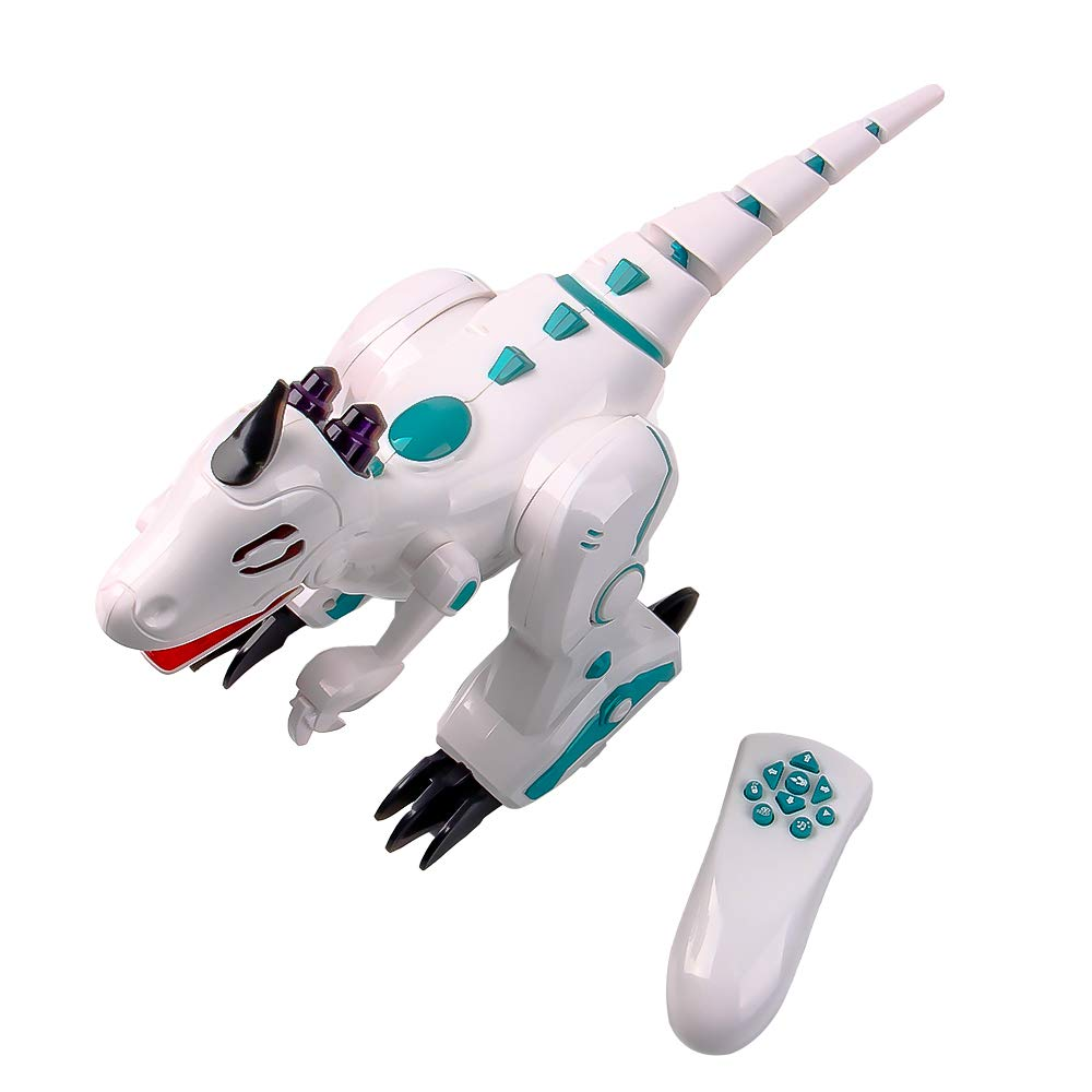 ERollDeep Dinosaur Toys Electric Walking Dinosaur with Flashing LED Lights & Realistic Sounds, Battery Operated Intelligent Dinosaur with Remote Control with Smoke Effect for Boys, White by ERollDeep (Image #3)