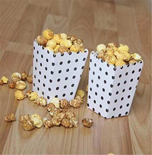 ASMGroup Popcorn Boxes 6pcs/bag Colorful Mini Dot Popcorn Box Party Supplies Gift Box Party Favor Candy For Kid Baby Shower Wedding Party Decoration White&Black