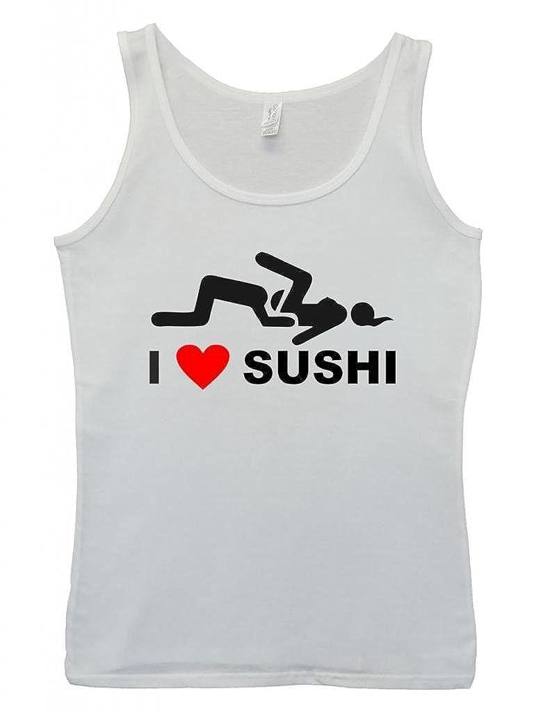 I Love Sushi Joke Swag Fresh Cool Funny Hipster Swag White Blanc Femme Women Tricot de Corps Tank Top Vest
