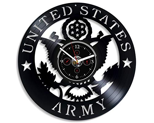 Clock Vintage American Retro - Kovides United States Army Wall Clock Vintage Vinyl Record Retro Wall Clock Large US Army Art for Boyfriend American Army Art Birthday Gift US Army Gift for Husband USA New Year Gift