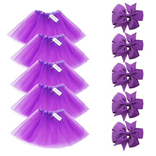 (BGFKS 5 Pack Tutu Skirt for Girl Ballet Dance Costume Dress up Princess Party Girl Tutus with Butterfly Headdress 12 Colors Age 2-8(Purple))