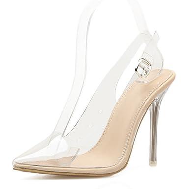 SHOWHOW Damen Offene Zehe Transparent Stiletto Sandale mit Knöchelriemchen Schwarz 38 EU Cu2Y2n7u