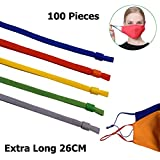 5 Assorted Colors Adjustable Elastic Band String Rope Straps for Mask Sewing, Extra Long 26cm, 100 Pieces Ear Loops for Making Masks Stretchy Cord with Locks Toggles-Colored (Color: Mixed Colors-100 Pieces)