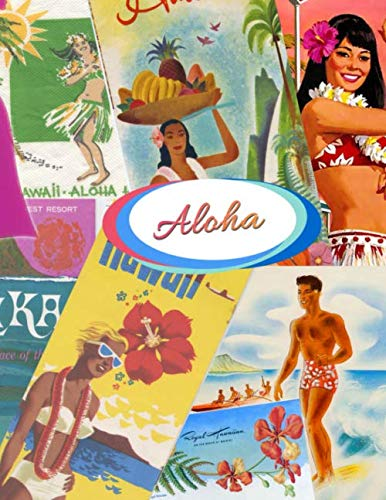 Aloha Welcome to Hawaii To Surf and Sun!: Vintage Travel Brochures Collage Retro Images of the 1950