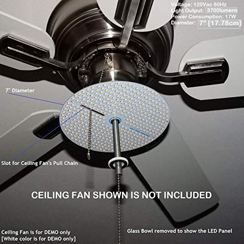 "Dual Light Output - 7"" Diameter LED Panel for Ceiling Fan Light - 4000Lumens 17Watts 120Vac. Secondary DIMMED (30%) Output. P/N: SPTL420LMF73-DLO- (30% Dimmed Secondary Light Output [3000K])"