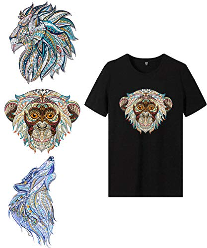 Lion Iron On Stickers Patches Heat Transfer Set-3 Pcs Large Animals DIY Vinyl Stickers Decoration Appliques Waterproof for T Shirts, Women denim jacket, Men Clothes and Handmade Lovers