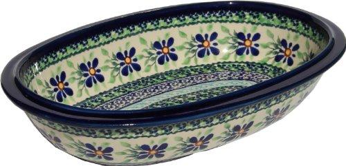 """Polish Pottery Oval Serving Dish From Zaklady Ceramiczne Boleslawiec #278-du121 Unikat Pattern, Length: 9.75"""" Width: 6.25"""" Depth: 2"""""""