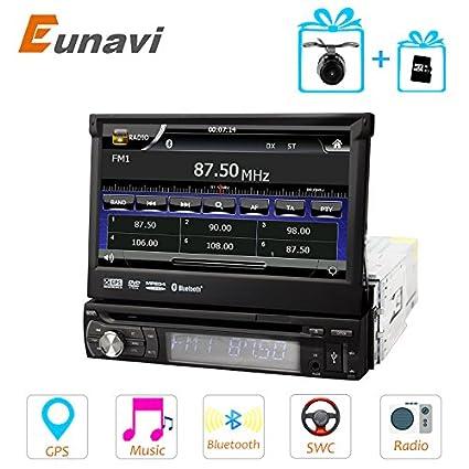 eunavi 1DIN coche Autoradio Reproductor de DVD AMP radio gps coche DVD cámara música ecualizador en