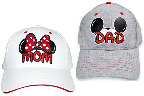 Set Disney Dad Mickey & Mom Minnie Hats Baseball Caps Men's Women's Adult 2 Pack]()