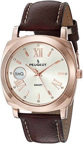 Peugeot-linQ-14K-Rose-Gold-Plated-Bluetooth-Smart-Connected-to-Mobile-Phone-Brown-Leather-Dress-Watch
