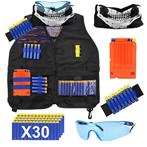 POKONBOY Vest Compatible with Nerf Guns - Tactical Vest Kit Compatible with Nerf Guns N-Strike Elite Series with Refill Darts, Reload Clips, Tactical Mask, Wrist Band and Protective Glasses for Boys