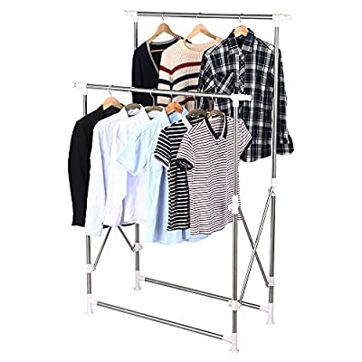 Heavy Duty Collapsible Clothing Double Rail Adjustable Garment Hanger Rack By Allgoodsdelight365