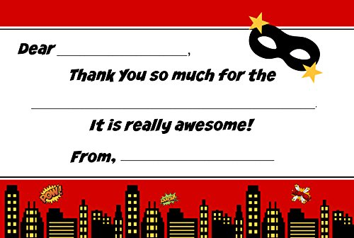 Superhero Kids Birthday Fill in Thank You Cards for Boys (20 Count with Envelopes) - Super Hero Thank You Notes]()