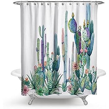 Huakz Tropical Cactus Flowers Shower Curtain Desert Succulent Plants Bathroom Decor Polyester Fabric Bath