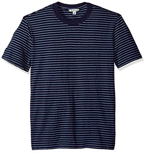- Calvin Klein Jeans Men's Short Sleeve T-Shirt Crew Neck with True Indigo Stripe, L
