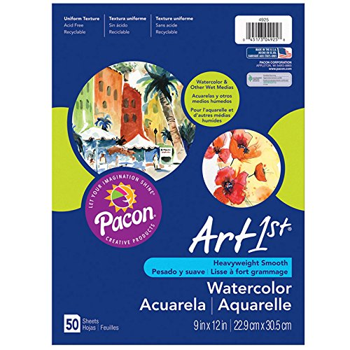 Pacon PAC4927 Art1st Watercolor Paper, 12 x 18, White, 50 Sheets 12 x 18