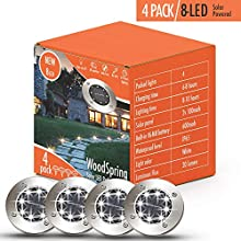 Solar Lights Outdoor   Pathway Disk Lights   4 Pack 8-LED Solar Powered Waterproof Exterior for Patio Deck Yard Garden Path Pool Home Driveway Stairs Step (White-2018 Upgraded)