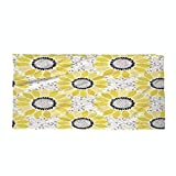 Cotton Microfiber Beach Towel,Yellow,Sunflower with Leaves and Petals Pattern Spring Summer Floral Nature Country Style Art,Yellow Gray,for Kids, Teens, and Adults