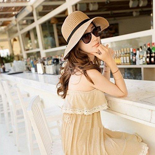 PhilMat Chapeau les femmes de la mode grande échelle soleil disquette chapeau de plage chapeau de paille bord