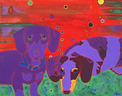 Dachshunds Dog Art Print - Dog Art Print - Dog Pop Art - Modern Dog Art by Angela Bond