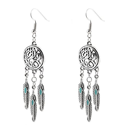 Celiy Vintage Tribal Feathers Antique Silver Turquoise Dream Catcher Dangle Earrings (Silver)