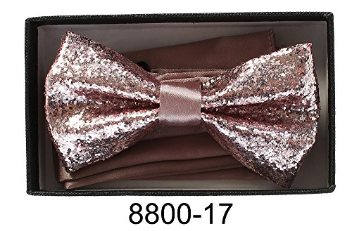 Men's Premium Metallic and Rhinestone Bow Ties for Suits and Tuxedos - Many Colors (Glitter Rose Gold 8800-17) -