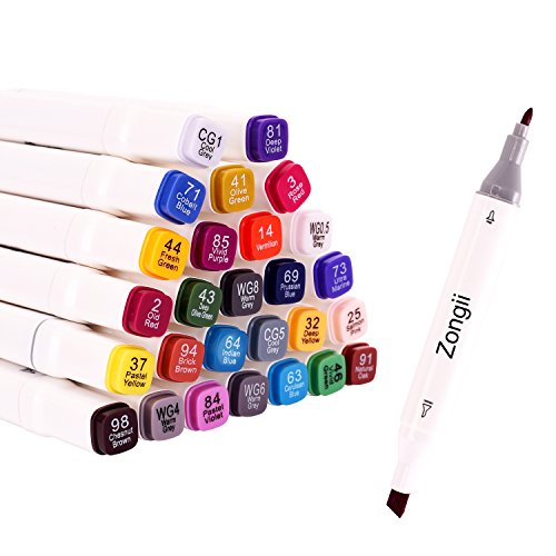 Zongii 45 Colors Markers- Dual Tips(Fine Tip& Broad Tip)- with Carrying Case- Ideal for Drawing, Coloring, Sketch - Suitable For Kids And Adults