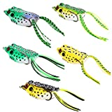 Isafish Topwater Frog Lure Kit Set Pack of 5pcs 2.16 Inch 0.49 Ounce Crankbait Tackle Crank Bait Bass Fishing Lures Lots Freshwater Saltwater Soft Bait