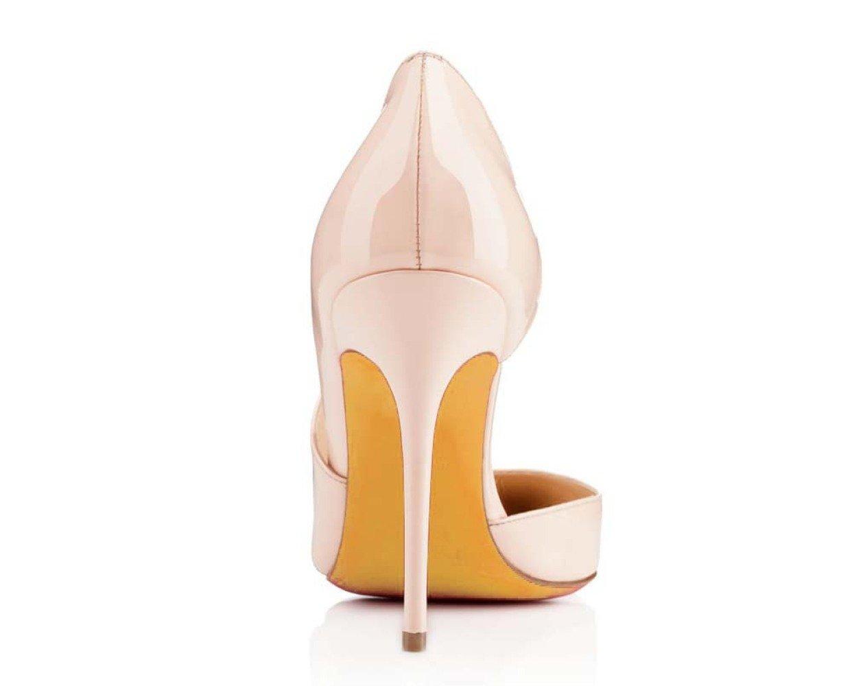 Koyi High Heels Schuhe Frau Sommer Sexy Stiletto Sandalen Einfache Lackleder Sandalen Stiletto Pumpe 10 cm  Pink 78ee50