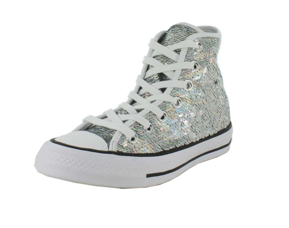 Converse Womens Sequined High Top Skateboarding Shoes B01CF52W2G 6.5 B(M) US|Silver/White/Black