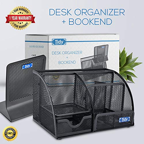 Mesh Desk Organizer with Bookends for Shelves 3 Piece Set 6 Compartments, Sliding Drawer Tray Home/Office, Dorm, Work Organization Accessories Desktop and Book Storage Black Photo #8