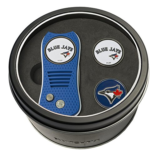 Team Golf MLB Toronto Blue Jays Gift Set Switchblade Divot Tool with 3 Double-Sided Magnetic Ball Markers, Patented Single Prong Design, Causes Less Damage to Greens, Switchblade Mechanism
