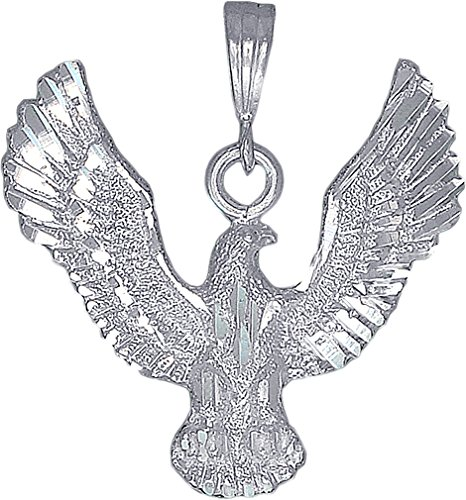 Silver Sterling Solid Eagle Charm (eJewelryPlus Sterling Silver Eagle Charm Pendant Necklace Diamond Cut Finish with Chain (Without Chain))