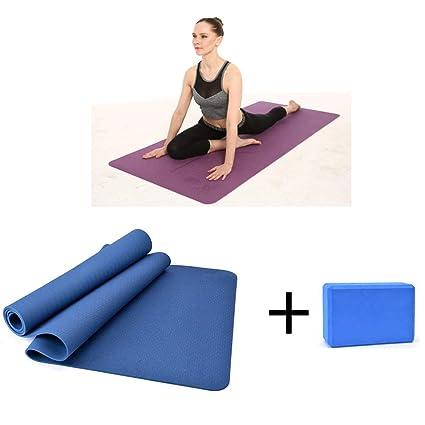 Amazon.com : Non-Slip Texture TPE Yoga Mat Yoga Brick Set ...