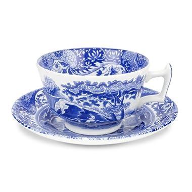 Spode 8-Piece Blue Italian Teacup and Saucer Set, 7 oz