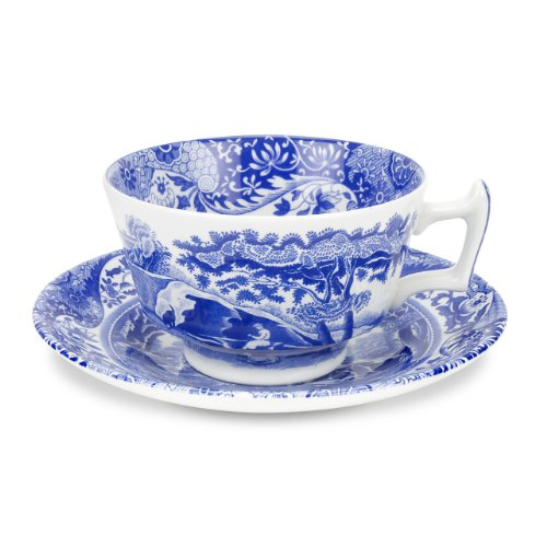 Spode Blue Italian Teacup and Saucer, Set of 4 ()