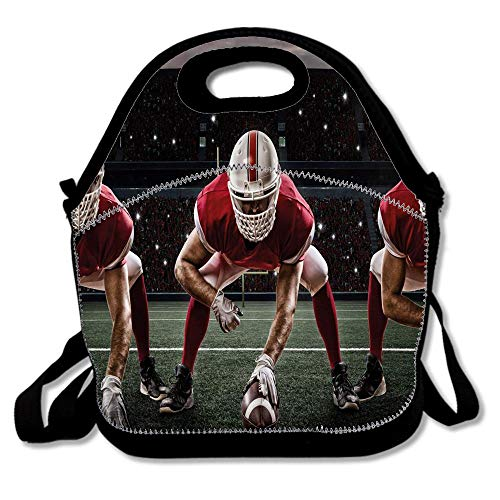 (Sports Team Players on Scrimmage Line Stadium Arena Tackle Touchdown Reusable Neoprene Lunch Bag Insulated Lunch Box Tote for Women Men Adult Kids Teens Boys Teenage)