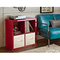 Storage Solution Better Homes and Gardens Square 4-Cube Organizer, Multiple Colors (High Gloss Red Lacquer)