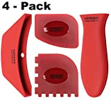 #2: HOMKOM - 4 Pack Cast Iron Skillet Silicone Handle Holder Pan / Pot Scraper Grill Scraper with BPA Free (Red)