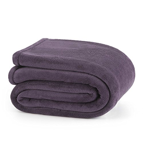 Soft Fleece Martex Blanket - Martex Plush Blanket, Twin, Black Plum