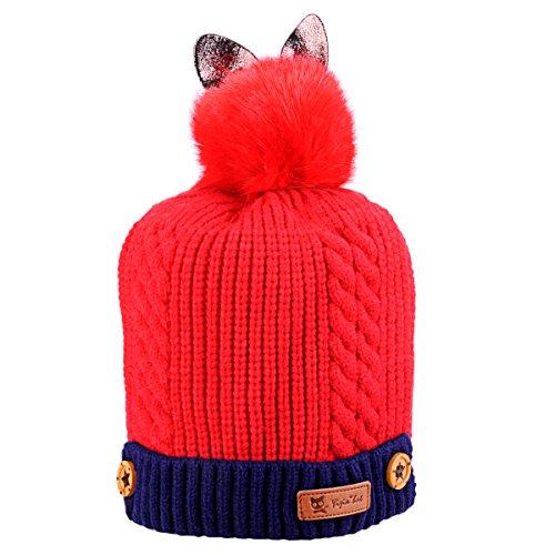 ボンボン帽子 キッズ帽 冬の暖かいニット帽 アクリル 4色 byLCPrime