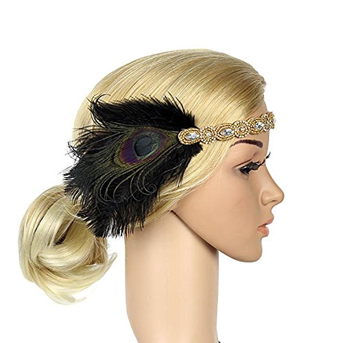 1920s Feather Flapper Headpiece Roaring Beaded Gatsby Peacock Headband Accessories Costume Adult Women (Gold)