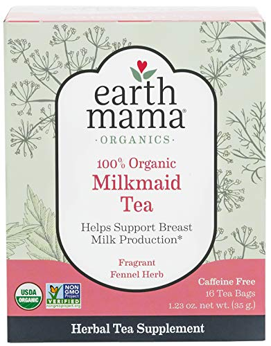 - Organic Milkmaid Tea by Earth Mama | Supports Healthy Breastmilk Production and Lactation, Herbal Breastfeeding Tea Supplement, 16 Count