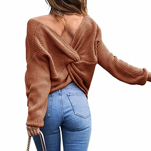 Tricot Femme Col Dos Winfon Pullover V Nu Top Pull Manches Sexy 8qXrFw08