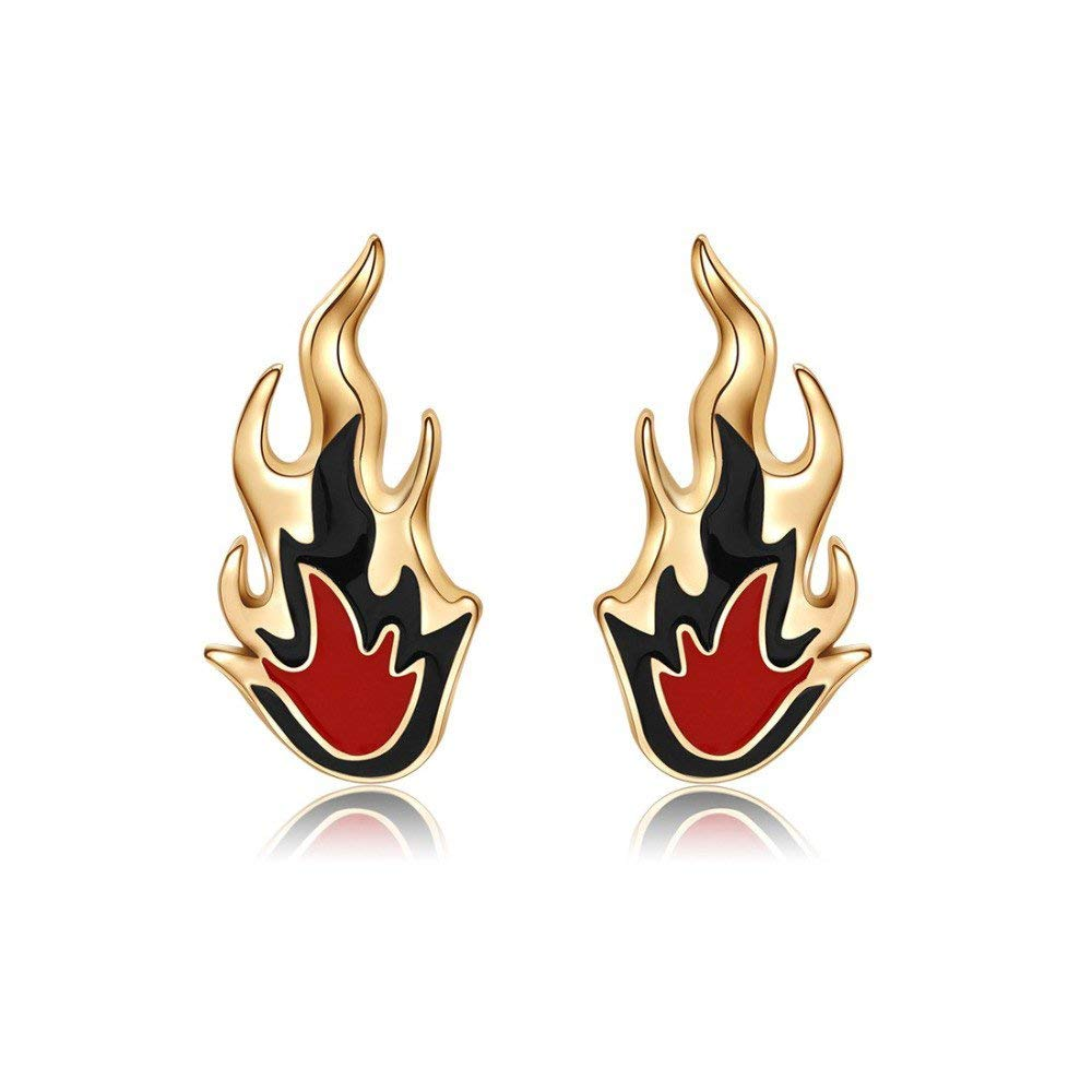 Fire Stud Earrings for Girls and Women with Jewelry Gift Box Packing by Silver Shoppee