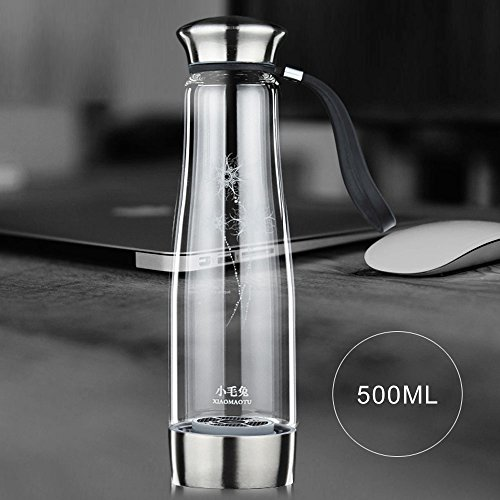 Anself 500ML Smart Touch Portable Hydrogen Rich Water Ionizer Bottle Maker Generator Rechargeable Heat-resistant Glass Water Pitcher Cup BPA-free W/ Self-cleaning - Generator Glasses