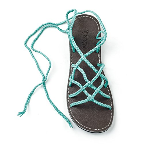 Plaka Flat Gladiator Sandals for Women by Turquoise 8 Sahara (Sandals Blue Turquoise)