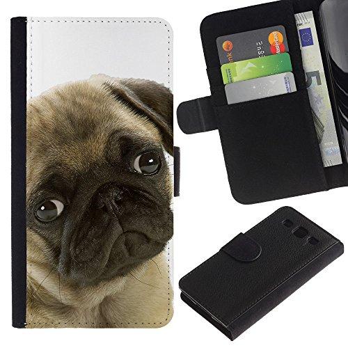 EuroCase - Samsung Galaxy S3 III I9300 - pug sad shy puppy guilty look dog small - Cuero PU Delgado caso cubierta Shell Armor Funda Case Cover